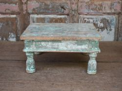 Old tribal stool with original blue and green paint <b>SOLD<b>